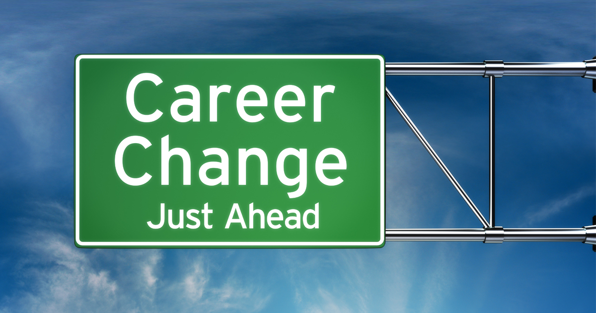 Career Change Just Ahead sign illustrating the exciting opportunity to reinvent yourself.