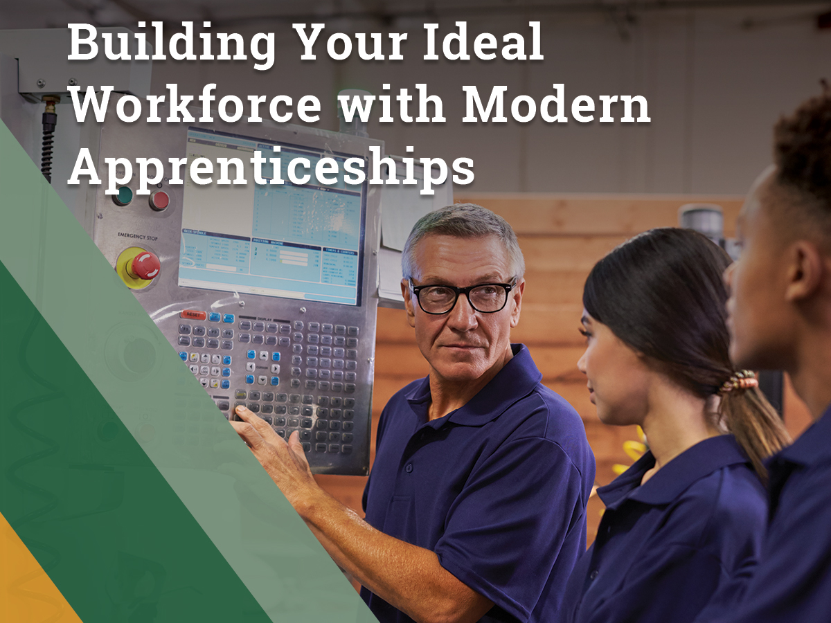 Company manager trains two apprentices. Apprenticeship programs are a solution for addressing a skilled labor crisis, providing the ability to find, retain and retain your company's ideal workforce.