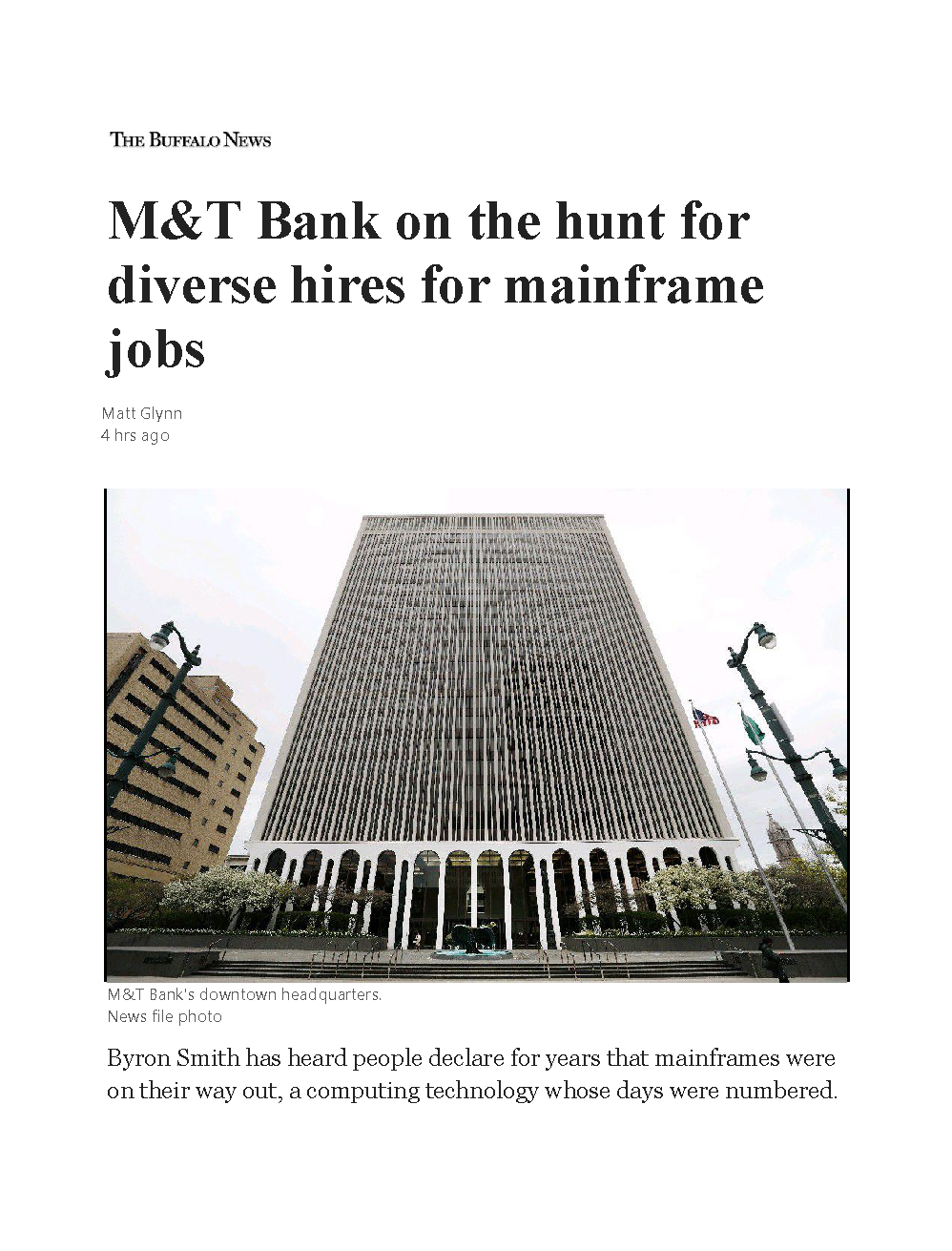 Buffalo News Article on M&T bank and Franklin Apprenticeships